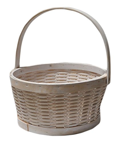 The Lucky Clover Trading Woodchip Swing Handle Basket, Medium, White