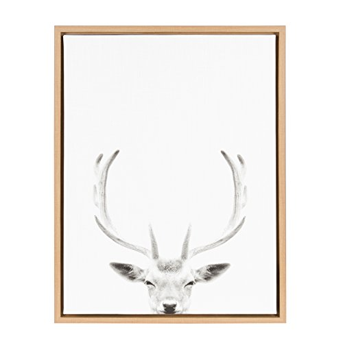 (Kate and Laurel Sylvie Deer with Antlers Black and White Portrait Framed Canvas Wall Art by Simon Te Tai, 18x24 Natural)