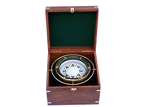 Hampton Nautical 3xglass-101 Antique Brass Gimbal Compass w/Rosewood Box 9