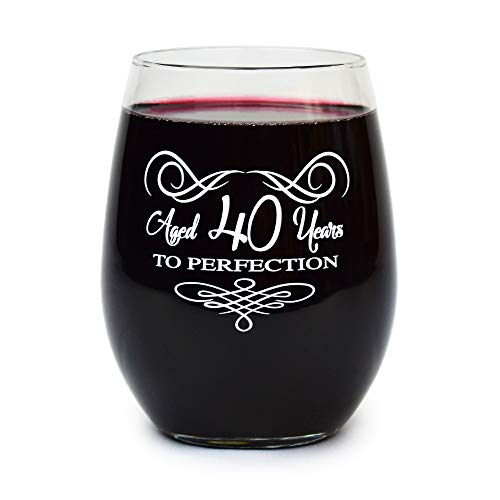 40th Birthday Stemless Wine Glass Gifts for Women and Men Funny Vintage Retro Gift Ideas for Him, Her, Husband, or Wife. 15 oz Glasses For Birthday and Anniversary Cups for Dad Mom