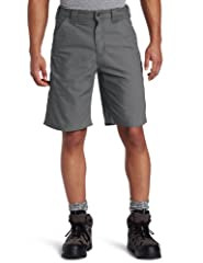 An excellent lightweight choice, Carhartt canvas work short is made of 7.5-ounce, 100 percent cotton canvas work with a 10-inch inseam. The left leg features a hammer loop and ruler pocket, while the right leg includes a pocket for a cell pho...