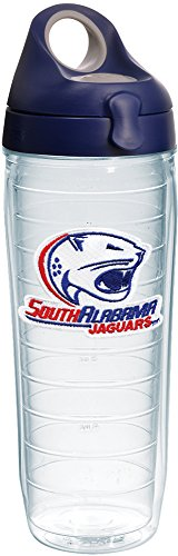 Bottle Alabama Insulated (Tervis 1231632 South Alabama Jaguars Logo Insulated Tumbler with Emblem and Navy with Gray Lid 24oz Water Bottle Clear)