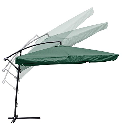 Aluminum Tilt Offset Umbrella - Yescom 9' Green Square Outdoor Patio Hanging Offset Aluminum Umbrella Tilt UV30+ 200g Cover Canopy