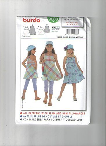 Burda 9608 Sewing Pattern for Girls Raised Waist SUN Dress with Binding Trims and Straps in 2-lengths 7 8 9 10 11 ()