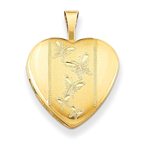Pori Jewelers 14K Solid Yellow Gold Heart Locket Pendants- Perfect for Holding Photos, Messages, sentimental's-Multiple Styles Available (Butterflies (20MM))