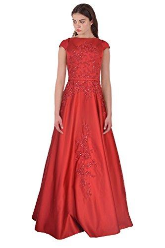 Teri Jon Floral Embellished Cap Sleeve Ball Evening Gown Dress