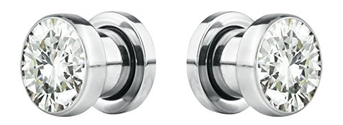 Forbidden Body Jewelry 8mm (0GA) Surgical Steel Screw Fit CZ Center Tunnel Plug Earrings (2pcs) ()