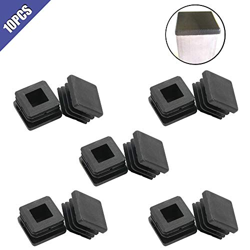 Comidox 10 Pcs Square Tube Plastic Hole Plug 1x1 Inch Cap Cover Tube Chair Glide Insert,Fitness Equipment,Steel Wood Furniture Cap Pipe Plug (1 Square Tube Plug)