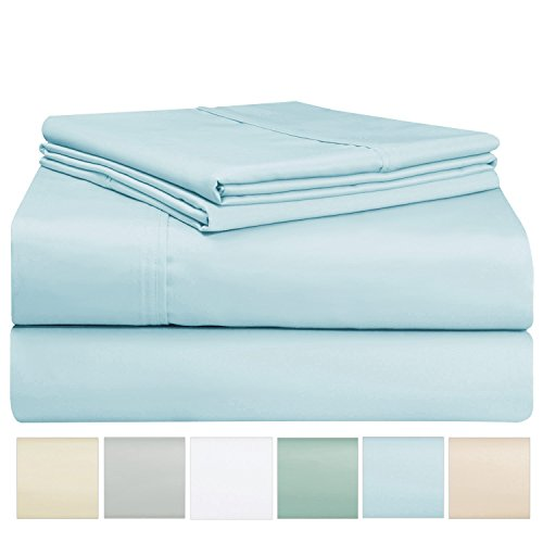 et Set, 100% Long Staple Cotton Light Blue King Sheets, Sateen Weave Bed Sheets fit upto 17 inch Deep Pockets, 4Pc Set by Pizuna Linens (Baby Blue King 100% Cotton Sheet Set) (Blue King Sheet Set)