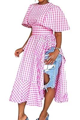 UUYUK Women Ruffle Side Slit Fashion Short Sleeve Plaid Shirt Dress