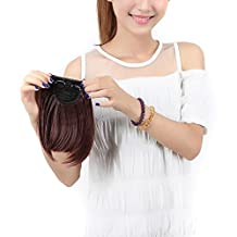 """S-noilite 8""""(20cm) Front Neat Dark Auburn Bangs Clip in Hair Extensions One Piece Striaght Fringe Hairpiece"""