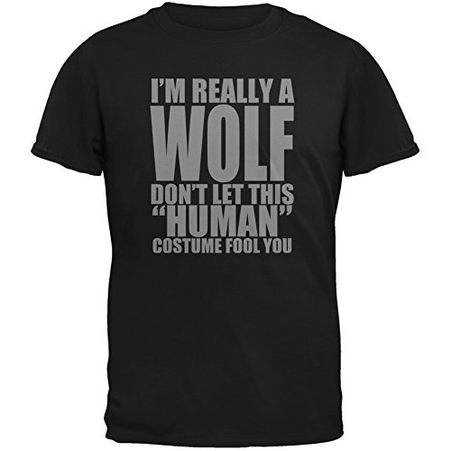 [Halloween Human Wolf Costume Black Youth T-Shirt - Medium(10/12)] (Black Sheep Costumes)