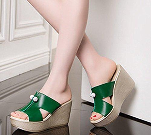 Orteil Talon Compensé Confortable Aisun Cool Mules Fille Femme Vert Strass A6wX1nUq