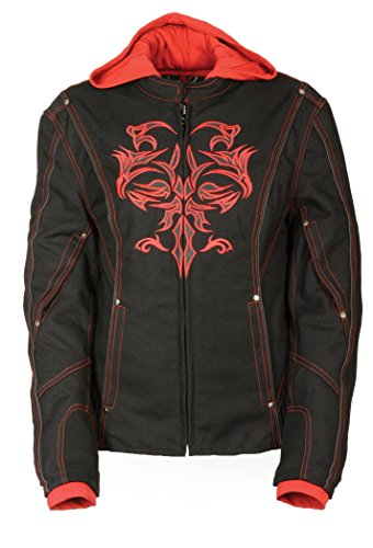 Womens 3/4 Length Leather Jacket Reflective Tribal Detail, Black / Red Size 3XL (Ladies 3/4 Length Leather)