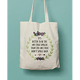 Canvas Tote Bag For Happy People – Positivity Quote Cotton Shopping Bag