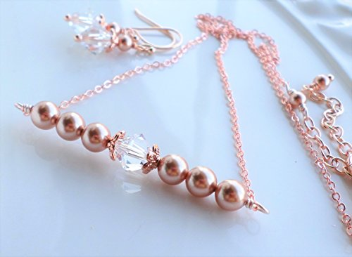Rose Gold Pearl Swarovski Crystal Necklace Earrings Set by H&H Jewelry Designs