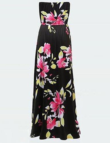 PU&PU Robe Aux femmes Grandes Tailles Sexy / Soirée , Fleur Sans Bretelles Maxi Rayonne / Elastique , screen color-l , screen color-l
