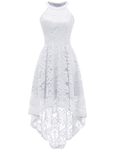 Dressystar 0028 Halter Floral Lace Cocktail Party Dress Hi-Lo Bridesmaid Dress XXXL White