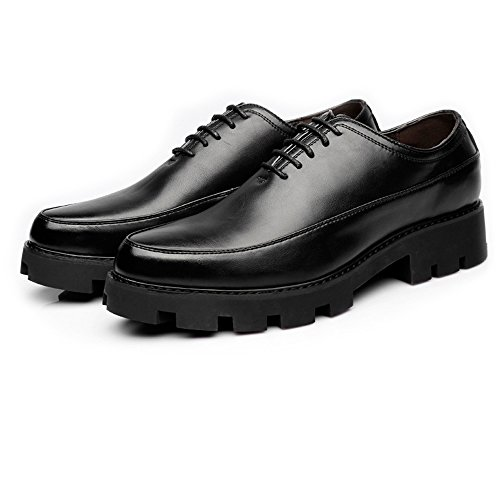 Hishoes Men's Casual Shoes Matte PU Leather Prom Loafer Lace Up Breathable Lined Strong Outsole Oxfords Fashion (Color : Black, Size : 8.5MUS)