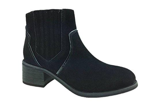 LADIES FASHION FAUX SUEDE COWBOY ANKLE BOOTS BLOCK HEEL INSIDE ZIP SIZE UK 3-9 Black j7HSG3CDD0