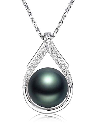 Nonnyl Tahitian Black Pearl Pendant Necklace 10-10.5mm Round Sterling Silver for Women Black Tahitian Pearl Necklace
