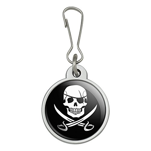 Pirate Skull Crossed Swords Jolly Roger Jacket Handbag Purse Luggage Backpack Zipper Pull Charm