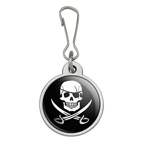 Sword Pull Zipper - Pirate Skull Crossed Swords Jolly Roger Jacket Handbag Purse Luggage Backpack Zipper Pull Charm