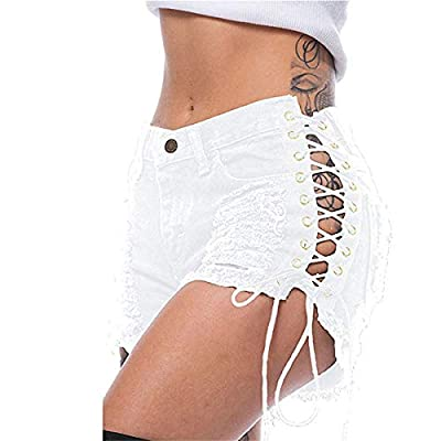 GROSIU& Liooil Plus Size Tassel Denim Party Rave Shorts Women Sexy Club Skinny Lace Up Mid Waist Hole Rivet Button FBlack Short Jeans: Ropa y accesorios