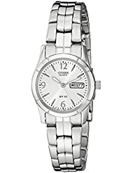 Citizen Womens Quartz Silver-Tone Watch with Day/Date display, EQ0540-57A