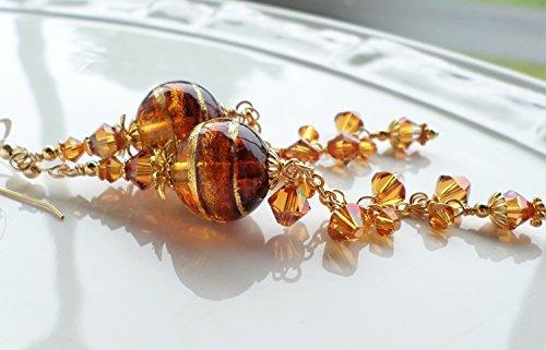 - Topaz and Copper Murano Glass Swarovski Crystal Long Earrings