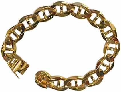 14Kt Solid Yellow Gold Mens Mariner Link Heavy Bracelet 13 Mm 8