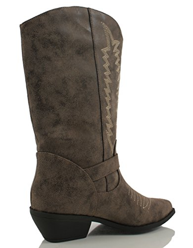 Brown Soda Pointed Pull Women's On Red Tabs Pu Reno Knee Western Cowboy High Boots Toe rrOTqA
