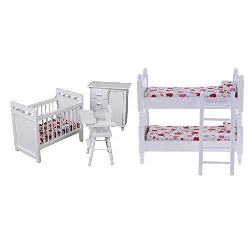 (Baoblaze 1/12 Dollhouse Kids Room Furniture Accessories Wooden Bunk Bed & Nursery Cradle Toys)
