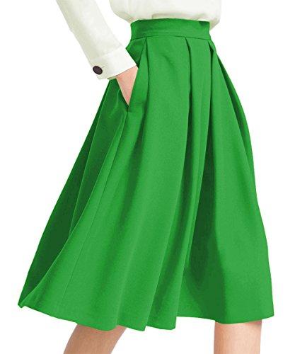 Yige Women's High Waisted A line Skirt Skater Pleated Full Midi Skirt Light Green US10