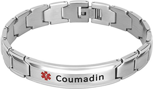 Elegant Surgical Grade Steel Medical Alert ID Bracelet for Men and Women (Men's, Coumadin)