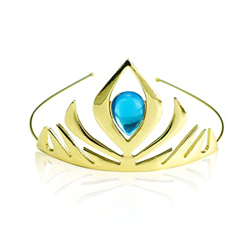 Jeassi Princess Crown Tiara and Wand Set Silver Heart Jewel Princess Accessories (Gold with Tiara) -