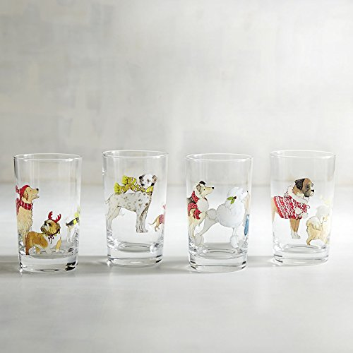 NEW PIER ONE 4pc ASSORTED PARK AVENUE PUPPIES COCKTAIL BEVERAGE JUICE GLASS CUP TUMBLER BARWARE 7oz