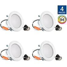 Hyperikon 4 Inch LED Downlight, Dimmable, 9W (65W Equivalent), Retrofit LED Recessed Fixture, 4000K (Daylight Glow), CRI94, ENERGY STAR Ceiling Light - Great for Bathroom, Kitchen, Office (4 Pack)