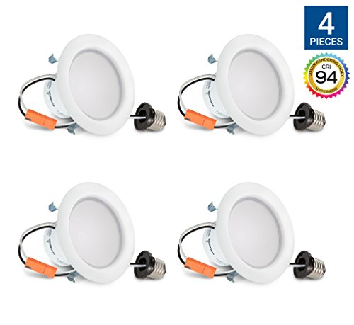 Price comparison product image Hyperikon 4 Inch Dimmable Recessed LED Downlight, 9W (65W Equivalent), 2700K (Warm White), Retrofit Lighting Fixture, ENERGY STAR, 650 Lumens - Great for Cans in Bathroom, Kitchen, Office (4 Pack)