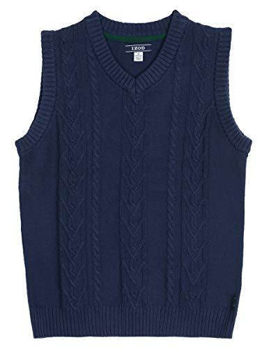 Izod boys V-Neck Sweater Vest, Midnight, X-Large(18/20)