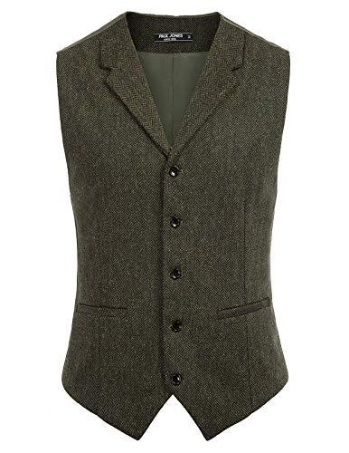 Paul Jones Men's Herringbone Tweed Waistcoat Single Breasted Notch Lapel Vest