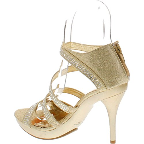 Bonnibel Amy-34 Womens Back Zipper Sparkle Evening Wedding Promo Sandali Scarpe Oro Chiaro