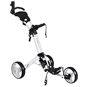 Amazon.com : Tangkula Folding Golf Cart 3 Wheels Golf Club Push Pull Cart with Umbrella