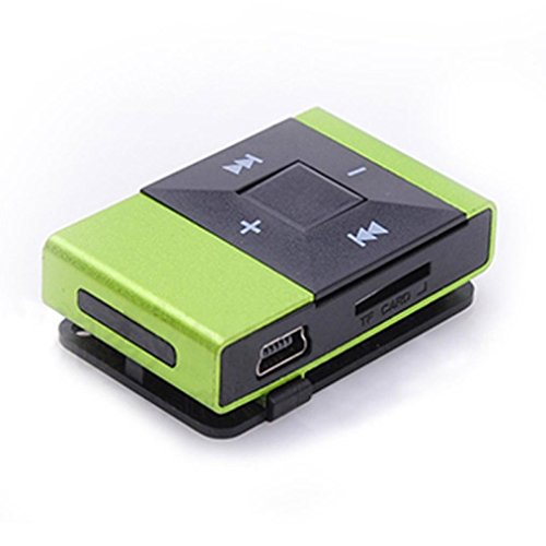 Start Fashion Sport Relax Protable Mini Clip Metal MP3 Player Support 8GB SD TF Card -Green