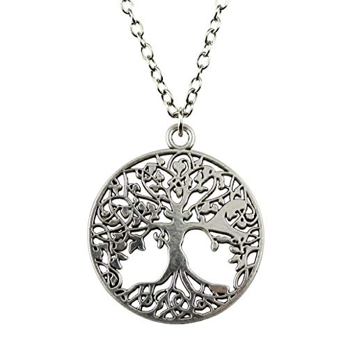 (Round Tree Life Pendant, Fashion Jewelry Gift Women Party Prom Birthday Necklace)