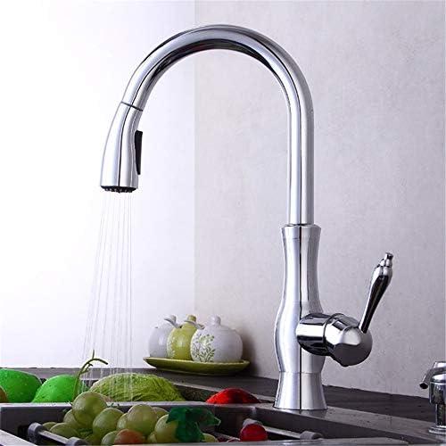 キッチン水栓 ホットコールドウォーターミキサースプレーとストリームモード引き出しクロームカラーキッチン水栓シングルハンドル高アークフル銅キッチンシンクの蛇口 キッチンとバスルームに適しています (Color : Chrome Color, Size : Free Size)