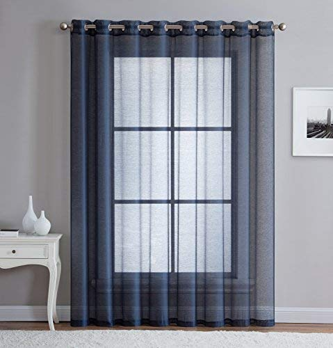 LinenZone - Grommet Semi-Sheer - 1 Extra Wide Patio Curtain Panel - 102 Inch Wide - 96 Inch Long - Ideal for Sliding and Patio Doors - Natural Light Flow Material (Patio 102