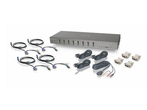 IOGEAR 8-Port Rackmount DVI and VGA KVMP Switch with 4-DVI-D USB KVM, 4-VGA USB Audio/Mic KVM Cables, GCS1108KIT2 - Sun Rackmount Kit