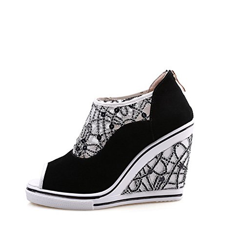 Amoonyfashion Mujeres Frosted Zipper Peep-toe Tacones Altos Sandalias De Colores Surtidos Black