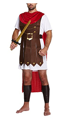 Adult Roman Caesar Emperor General Costume Mens Stag Do Fancy Dress Party Outfit -
